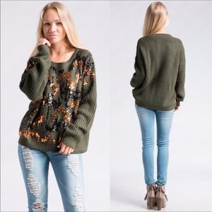 Sweaters - ✨HP✨ Multi-Sequin Olive Green Sweater